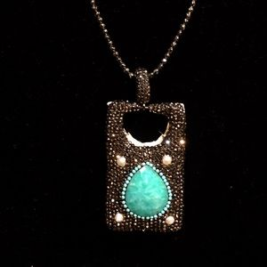 Marcasite, Hematite, Pendant Long Necklace